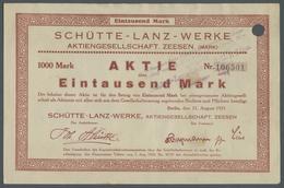 Alte Aktien / Wertpapiere: HISTORISCHE WERTPAPIERE - DEUTSCHES REICH. 1923, 1000 Mark-Aktie Der Schü - Azioni & Titoli