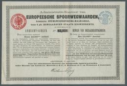 """Alte Aktien / Wertpapiere: NIEDERLANDE; 1893, Waagerecht Mittig Zweimal Gefaltete Aktie Der """"Europee - Azioni & Titoli"""
