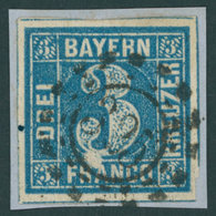 BAYERN 2IIA BrfStk, 1850, 3 Kr. Blau Ausgefüllte Ecken, Unterhalb Der Großen 3 Unbedrucktes Feld, Offener MR-Stempel 325 - Bayern