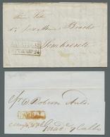 Mexiko: 1830-1875 (ca.), Partie Mit 5 Vorphilabriefen, 5 Mit Diversen Beziksaufdruckmarken Frankiert - Messico