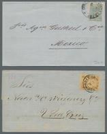 Mexiko: 1861-1901, Kleine Partie Von 6 Belegen Und 2 Größeren Briefstücken, Darunter U.a. Diverse We - Messico