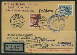 ZULEITUNGSPOST 26 BRIEF, Österreich: 1929, 1. Amerikafahrt, Mit Verzögerungsstempel, Prachtkarte - Zeppelins