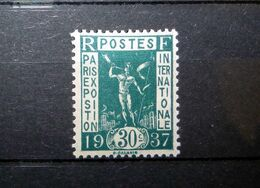 FRANCE 1936 N°323 ** (EXPOSITION INTERNATIONALE PARIS 1937. GÉNIE DE GALANIS. 30C VERT-BLEU) - France