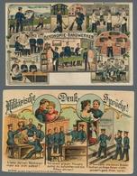 Ansichtskarten: 1904-1955, Partie Von 44 Ansichtskarten Mit U.a. Deutschland Und Viel Militaria (mei - 500 Karten Min.