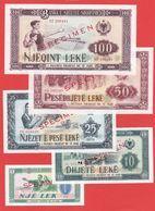 ALBANIE -Série De 5 Billets SPECIMEN De 1976 - NEUF - Albanië