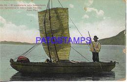 139584 PERU PUNO LAGO TITICACA COSTUMES COMERCIANTE INDIO NATIVE TRANSPORTANDO EN BALSA POSTAL POSTCARD - Peru