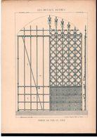 Fiche Serrurerie Ferronnerie Architecture Les Métaux Ouvrés Vers 1880 Porte En Fer Et Tôle - Schede Didattiche