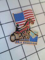 1820 Pins Pin's / Rare & Belle Qualité THEME SPORTS / HIPPISME TIERCE PRIX D'AMERIQUE CHEVAL DRAPEAU USA - Pin's