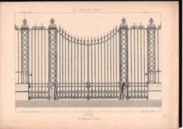 Fiche Serrurerie Ferronnerie Architecture Les Métaux Ouvrés Vers 1880 Grille M. LECLERE Paris - Schede Didattiche