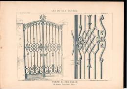 Fiche Serrurerie Ferronnerie Architecture Les Métaux Ouvrés Vers 1880 Porte M. MARTINI Serrurier Paris - Schede Didattiche