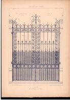 Fiche Serrurerie Ferronnerie Architecture Les Métaux Ouvrés Vers 1880 Porte M. PERAULT Serrurier Paris - Schede Didattiche