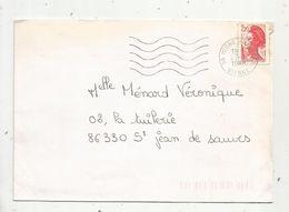Lettre , 86 - MIGNE AUXANCES ,VIENNE ,1988 , 2 Scans - Marcofilie (Brieven)