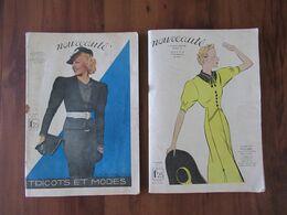 1937 Art Déco, 2 Revues Nouveauté, Tricots Et Modes - Haute Couture, Patrons, Poupée, Boléro, Tailleur, Sac,Toque, Pub - Mode
