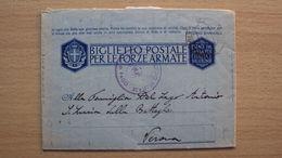 STORIA POSTALE BIGLIETTO FF.AA. FRANCHIGIA OCCUPAZIONE DI PAGO ANNULLO CROAZIA RARO - 1900-44 Victor Emmanuel III