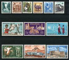 OUGANDA 1962 N° 50/61 ** Neufs MNH Superbes C 27,50 € Indépendance Faune Flore Oiseaux Grue Boeuf Café Coton Tabac - Uganda (1962-...)