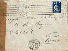 WW1 , French Censor ,  1915 Censure , Letter From Lisboa To Paris , Etranger Postmark - WW1