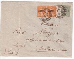 DAGUIN Solo MARSEILLE SAINT-CHARLES 1924 Entrée Maritime Boîte Mobile Vapeur Lettre Algérie (Semeuse Avec Surcharge) - Marcophilie (Lettres)