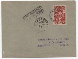 """Lettre Timbre Surtaxe Seul 1936 AJACCIO CORSE Transportée Exceptionnellement Par Avion > Marseille """"Vous Pouvez Répondre - Luftpost"""