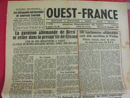 Journal Ouest-France N° 39 Du 20 Septembre 1944. Brest Collaboration Vichy épuration FFI - Guerra 1939-45