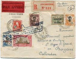 """INDOCHINE LETTRE RECOMMANDEE PAR AVION AVEC AFFRANCHISSEMENT UN TIMBRE SURCHARGE """"PECULE"""" DEPART PHNOM-PENH 8-4-29 - Indochine (1889-1945)"""