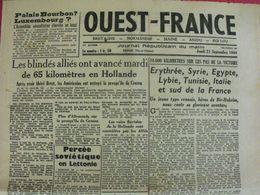 Journal Ouest-France N° 40 Du 21 Septembre 1944. Brest Libéré Collaboration Vichy épuration Esteva Platon Abrial FFI - Guerra 1939-45