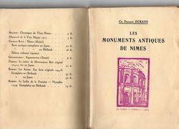 LES MONUMENTS ANTIQUES DE NIMES ANNEE 1925  170 Pages Ch.FRANçOIS DURAND  JO FABRE Nimes 1925 - Archeologia