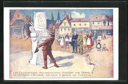Künstler-AK Reklame Für Kalidünger Der Marke Potasse D`Alsace, Denkmal Für Potasse D`Alsace - Werbepostkarten