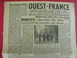 Journal Ouest-France N° 50 Du 3 Octobre 1944. Collaboration épuration De Luma Logier Renault Réquisitionné FFI - Guerra 1939-45
