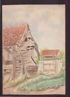 Dessin ( 24 X 17 Cm ) Recto-verso , Grange Et Puits , Fleurs Dans Un Vase Signé Chicanne, 1917 - Other Collections