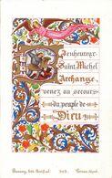 IMAGE PIEUSE Religieuse En 1880 En Couleur De Bonamy Poitiers - Religion Catholique Catholicisme - SAINT MICHEL ARCHANGE - Devotieprenten