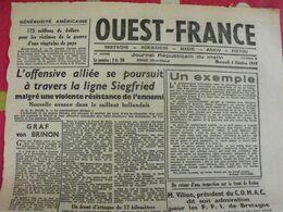 Journal Ouest-France N° 15 Du 23 Août 1944. De Gaulle à Laval épuration Fernand Bouisson Koenig FFI - Guerra 1939-45