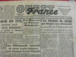 Journal Ouest-France N° 65 Du 20 Octobre 1944. épuration  Cornu Pucheu Horthy Fusillés Hitler - Guerra 1939-45
