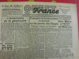 Journal Ouest-France N° 62 Du 17 Octobre 1944. Nazis En Hongrie Horthy Tito Miliciens Fusillés  FFI - Guerra 1939-45