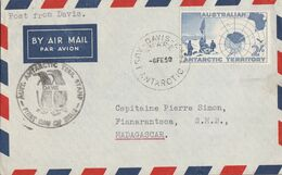 ANTARTIQUE AUSTRALIEN  LETTRE DE DAVIS POUR MADAGASCAR 1958 - Australian Antarctic Territory (AAT)