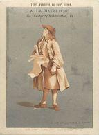-chromo-ref CHA947-types Parisiens -metiers -fond Doré -loterie  -a La Bateliere -picou-fbg Montmartre -11,5x8,5 - Chromo