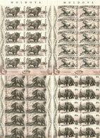 Moldova 2010 .Prehistoric Animals. 4 Sheetlets, Each Of 10. Michel # 719-22   KB - Moldavia