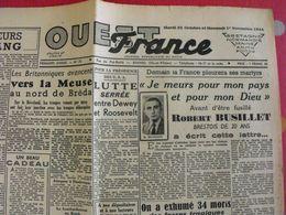 Journal Ouest-France N° 74 Du 31 Octobre 1944. Fosses Tragiques De L'Hermitage-Lorges Bombardement Du Reich - Guerra 1939-45