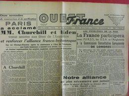 Journal Ouest-France N° 83 Du 13 Novembre 1944. Churchill Eden De Gaulle Patton Metz - Guerra 1939-45