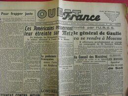 Journal Ouest-France N° 86 Du 16 Novembre 1944. FFI Andorre Franco épuration Duhamel De Gaulle Patton Metz - Guerra 1939-45