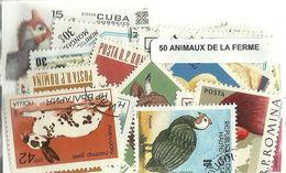 """Lot 50 Timbres Thematique """" Animaux De La Ferme """" - Fattoria"""