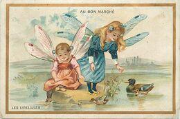 -chromo-ref CHA943-magasin Au Bon Marché -paris -boucicaut -enfants Libellules -libellule -12cmx X 8cms - - Au Bon Marché