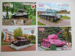 4 PCs Poland.Ośno Lubuskie Braniewo Witramowo Elbląg Monument Tank T-34 Modern PCs - Weltkrieg 1939-45