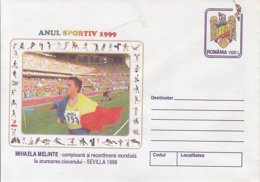 89484- MIHAELA MELINTE, ATHLETICS, SPORTS, COVER STATIONERY, 1999, ROMANIA - Leichtathletik