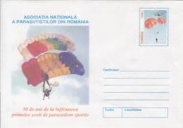 89493- FIRST PARACHUTTING SCHOOL, SPORTS, COVER STATIONERY, 2000, ROMANIA - Fallschirmspringen