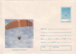 89500- HARLEY SKYGLIDER, PARACHUTTING, SPORTS, COVER STATIONERY, 1994, ROMANIA - Parachutting
