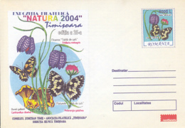 89545- BUTTERFLIES, CHESS FLOWER, MUSHROOMS, PLANTS, COVER STATIONERY, 2004, ROMANIA - Pilze