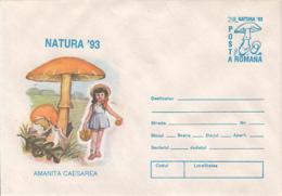 89547- GIRL, MUSHROOMS, PLANTS, COVER STATIONERY, 1993, ROMANIA - Pilze