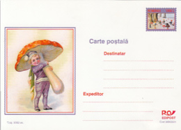 89550- CHILDRENS, MUSHROOMS, PLANTS, POSTCARD STATIONERY, 2001, ROMANIA - Pilze