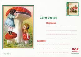 89551- CHILDRENS, MUSHROOMS, PLANTS, POSTCARD STATIONERY, 2001, ROMANIA - Pilze
