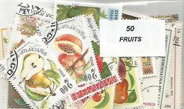 """Lot 50 Timbres Thematique """" Fruits """" - Frutta"""